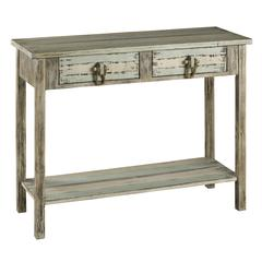 Benue Console Table, Light Grey Finish with Cream Undertones and Pale Blue and Green Accents