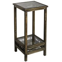 Cooper Classics Folly Pedestal, Medium Brown Wood Finish with Glass Tops