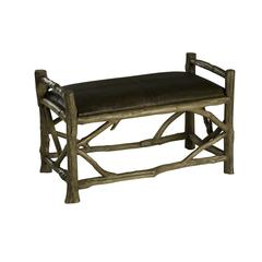 Hope Bench, Natural Wood Finish with Brown Leather Top