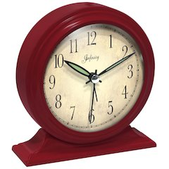5.75 in Round Tabletop Clock, Red Finish Case, Glass Lens, Built-in Alarm, Second Hand
