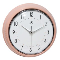 9.5 in Round Wall Clock, Pink Finish Case, Glass Lens, Second Hand, Silent Movement