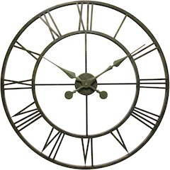 30 in Round Wall Clock, Greyish Green Finish Case, Aluminum hands over an open face