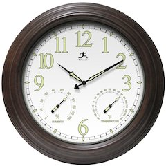 18.5 in Round Wall Clock, Rustic Brown Finish Case, Glass Lens, Built-in Hygrometer, Built-in Thermometer, Water Resistant