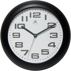 12 in Round Wall Clock, Black Finish Case, Glass Lens, Second Hand, Silent Movement