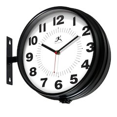 10.75 in Round Wall Clock, Black Finish Case, Glass Lens, Second Hand, Silent Movement