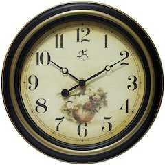 15.5 in Round Wall Clock, Black & Gold Finish Case, Glass Lens