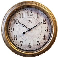 15.5 in Round Wall Clock, Silver Finish Case, Glass Lens