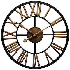 13.75 in Round Wall Clock, Black Finish Case, Open Face