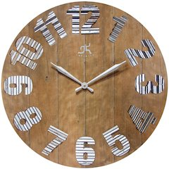 26.75 in Round Wall Clock, Brown Finish Case, Open Face