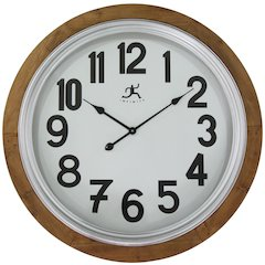 30.75 in Round Wall Clock, Natural Wood  Finish Case, Glass Lens