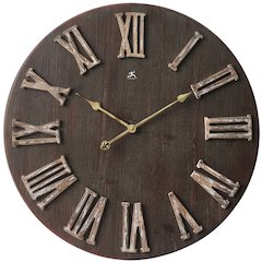27.5 in Round Wall Clock, Brown Finish Case, Open Face