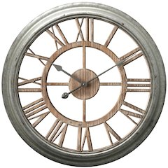 25.75 in Round Wall Clock, Antique Zinc Finish Case, Open Face