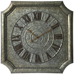 22.75 in Octagon Wall Clock, Galvanised Finish Case, Open Face
