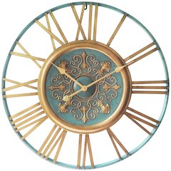 27.5 in Round Wall Clock, Turqoise Finish Case, Open Face