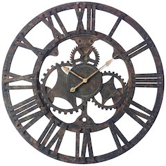 35.5 in Round Wall Clock, Rust Finish Case, Open Face