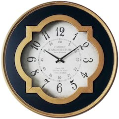 23.75 in Round Wall Clock, Black & Gold Finish Case, Glass Lens