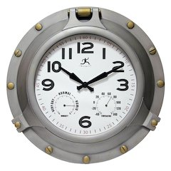 18 in Round Wall Clock, Antique Silver Finish Case, Glass Lens, Built-in Hygrometer, Built-in Thermometer, Water Resistant