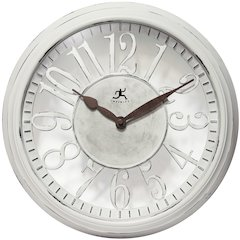 15 in Round Wall Clock, Antique White Finish Case, Convex Glass Lens