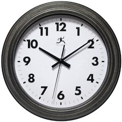 11.5 in Round Wall Clock, Antique Black Finish Case, Glass Lens over White Hands and Black Aluminum Hands