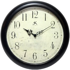 12 in Round Wall Clock, Anti black Finish Case, Glass Lens over Antique beige Hands and black Aluminum Hands