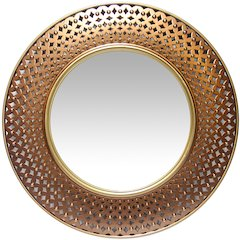 15.75 in Round Wall Mirror, Gold/Copper Finish Case over a 9.75 in Round Mirror
