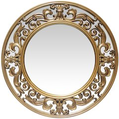 23.5 in Round Wall Mirror, Brushed Gold Finish Case over a 22.25 in Round Mirror