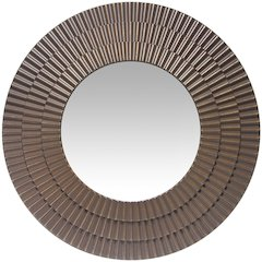 22 in Round Wall Mirror, Antique brass Finish Case over a 12.25 in Round Mirror