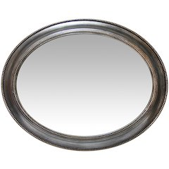 30 in Oval Wall Mirror, Antique Silver Finish Case over a 18.75 X 24.75 in Oval Mirror