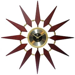 30 in Round Wall Clock, Walnut Finish Case,  Lens over Black & Gold Hands and Gold Aluminum Hands