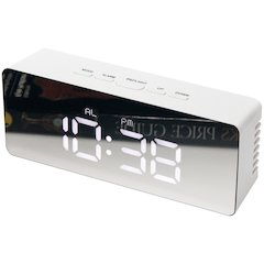 2.25 in Rectangle Tabletop Clock, White Finish Case, Acrylic Lens over  Hands and  Aluminum Hands