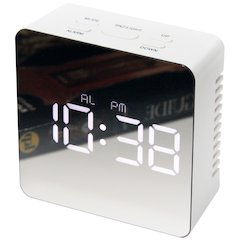 3.25 in Square Tabletop Clock, White Finish Case, Acrylic Lens over  Hands and  Aluminum Hands