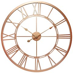 28 in Round Wall Clock, Rose Gold Finish Case, Rose Gold Aluminum Hands over Open Face