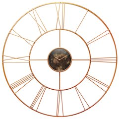 45.25 in Round Wall Clock, Rose Gold Finish Case, Rose Gold Aluminum Hands over Open Face