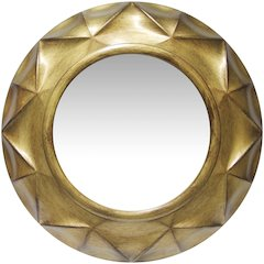 20 in Round Wall Mirror, Brushed Gold Finish Case over a 12.25 in Round Mirror