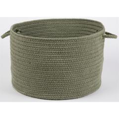 "Solid Moss Green Wool 18"" x 12"" Basket"