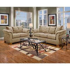 Exceptional Designs by Flash Living Room Set in Sensations Camel Microfiber