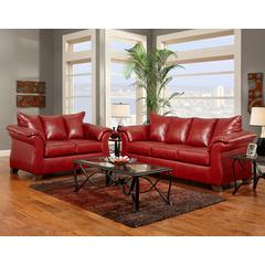 Exceptional Designs by Flash Living Room Set in Sierra Red Leather
