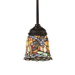 ELK lighting Mix-N-Match 1 Light Pendant In Tiffany Bronze And Multicolor Glass