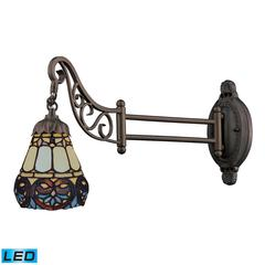 ELK lighting Mix-N-Match 1 Light LED Swingarm In Tiffany Bronze And Multicolor Glass