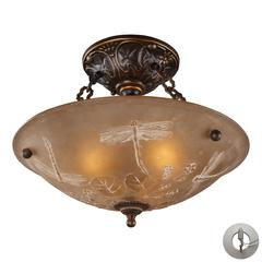 ELK lighting Restoration Flushes 3 Light Semi Flush In Antique Golden Bronze - Includes Recessed Lighting Kit