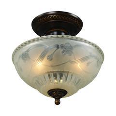 ELK lighting Restoration Flushes 3 Light Semi Flush In Antique Golden Bronze