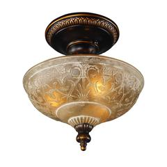 Restoration Flushes 3 Light Semi Flush In Antique Golden Bronze