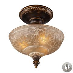 Restoration Flushes 3 Light Semi Flush In Antique Golden Bronze - Includes Recessed Lighting Kit