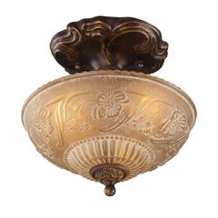 ELK lighting Restoration Flushes 3 Light Semi Flush In Antique Golden Bronze