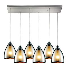 Reflections 6 Light Pendant In Satin Nickel And Multicolor Glass