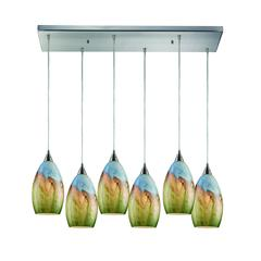 Geologic 6 Light Pendant In Satin Nickel And Multicolor Glass