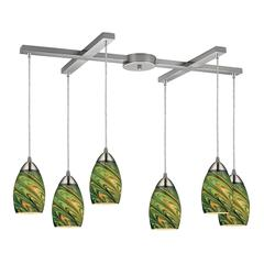 Mini Vortex 6 Light Pendant In Satin Nickel And Evergreen Glass