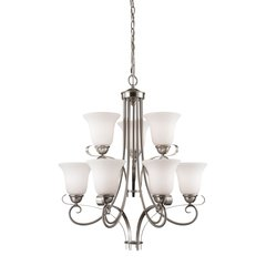 Brighton 9 Light EEF Chandelier In Brushed Nickel