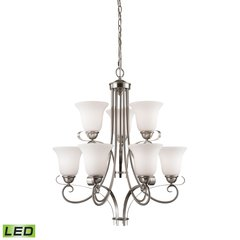 Brighton 9 Light LED Chandelier In Brushed Nickel