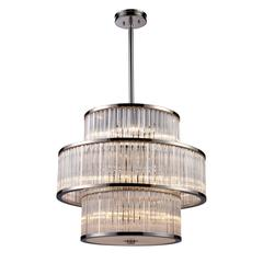 Braxton 15 Light Pendant In Polished Nickel